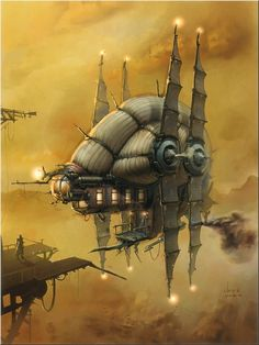 #steampunk #fantasy #airship Here's a wildly unique design for an airship! Illustration by Silvio Aebischer, http://groezelgeel.tumblr.com/post/47028535551/nautilus-blimp-by-silvio-aebischer