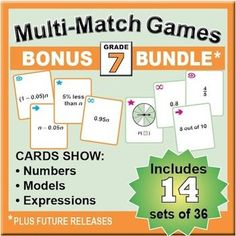 This bundle of printable Multi-Match game cards now includes the following 14 sets for Grade 7. Save about 40% compared to buying the sets separately. These games are quick-prep – just print 5 sheets of paper and let students cut the cards apart!