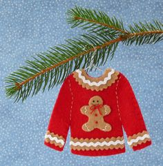 """Gingerbread Man Ugly Christmas Sweater Felt Christmas Ornament Needing ideas for a FUN Ugly Christmas Sweater Party check out """"The How to Party In An Ugly Christmas Sweater"""" at Amazon/com"""