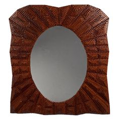 Fanciful Oval Opening Tramp Art Mirror with Strong Patterning   From a unique collection of antique and modern mirrors at http://www.1stdibs.com/furniture/folk-art/mirrors/