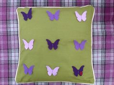 FELT BUTTERFLY CUSHION Butterfly Cushion, Felt Hair Clips, Name Banners, Handmade Felt, Cushion Covers, Cushions, Throw Pillows, Projects, Design