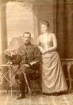 Grand Duke Pavel Alexandrovich Romanov of Russia with his first wife,Princess Alexandra of Greece.
