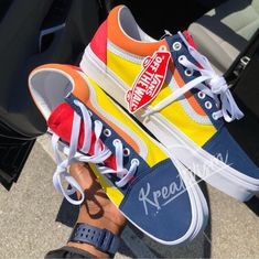 old skool vans color block Tenis Vans, Vans Sneakers, Sneakers Fashion, Sock Shoes, Shoe Boots, Custom Vans Shoes, Estilo Rock, Trendy Swimwear, Painted Shoes