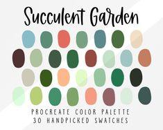 Succulent Garden Procreate Color Palette Color Swatches | Etsy Sage Color Palette, Colour Pallete, Plum Color Palettes, Teal Color Schemes, Green Palette, Color Swatches, Color Theory, Tool Design, Color Inspiration