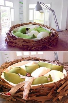 Bird Nest Bed This giant bird nest was designed by Merav Eitan and Gaston Zahr as part of the Green Garden Exhibition. Looks so inviting, . Dreams Beds, Cool Beds, Awesome Beds, My Room, Cool Furniture, Nest Furniture, Outdoor Furniture, Wicker Furniture, My Dream Home
