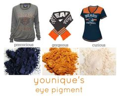 Chicago bears inspired Younique look using these eye pigments for your game day face! Finish the look with Younique 3D fiber lash mascara! www.youniqueproducts.com/SabrinaDrew #makeup