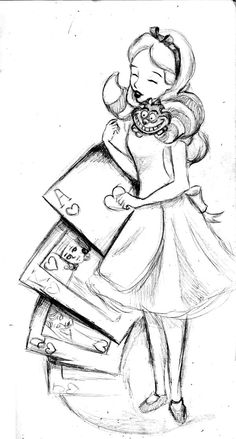 Alice tattoo Design by ~KitDesertOfFate27 on deviantART--If I had a sleeve it would be a Alice in wonderland theme