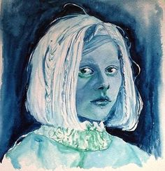 Beautiful & enchanting singer Aurora Aksnes in blue tints of gouache ~ Gouache on watercolor-paper, 22x22cm *Please note that the colours of the artwork may vary slightly from the colours of your screen.*
