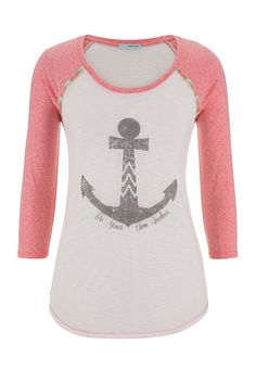 be your own anchor graphic print baseball sleeve tee