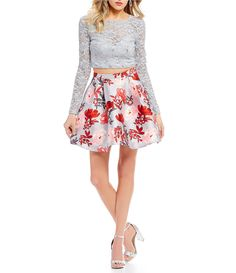 7dec8900ac B. Darlin Long Sleeve Glitter Lace Top with Floral Skirt Two-Piece Dress in  2019