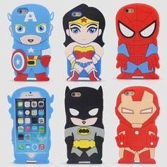 3D Cute Cartoon Super Heroes Batman spider-man Captain America Iron Man Soft Silicone Rubber Back Cover Case For iPhone 5C iPhone Web Shop |