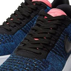 683f45c8e941 Nike Womans AF1 Flyknit Low Size 8 Blue Black Digital Pink Nike Free Shoes