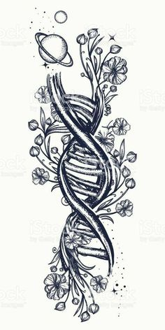 DNA necklace and Art Nouveau floral tattoo. Symbol of art .- DNA necklace and . - DNA necklace and Art Nouveau floral tattoo. Symbol of art …- DNA necklace and Art Nouveau floral - Flores Art Nouveau, Art Nouveau Flowers, Art Nouveau Tattoo, Tatuagem Art Nouveau, Symbolic Tattoos, Unique Tattoos, Symbolic Art, Body Art Tattoos, Tattoo Drawings