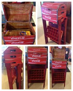 This is what my husband built me this year for CHRISTmas. I am a Coca-Cola freak and I had been wanting a bread/potato box. This is what he came up with from 3 wooden coke crates, a pallet and a plastic coke crate to use as a spice rack. I love love love this, but no where as near as much as I love that man of mine.