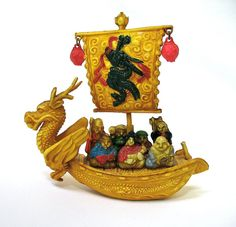 Vintage Celluloid Seven Gods of Good Luck in Dragon Boat