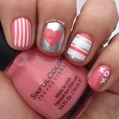 Hearts and stripes.. A Valentine's nail | Looking for Valentines nails ideas? Follow https://www.pinterest.com/thevioletvixen/bold-nails/