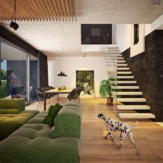 Modny III - dom parterowy z poddaszem użytkowym i garażem   doomo Barn House Plans, Architect House, Prefab Homes, Next At Home, Stairs, Construction, House Design, How To Plan, Interior Design