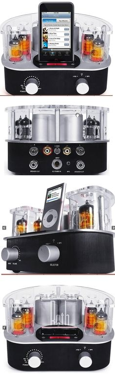 """Roth Audio MC4 Music Cocoon Hybrid tube amplifier with built-in iPod® dock 13 watts x 2 channels into 8 ohms (20-30,000 Hz) at 0.5% THD hybrid vacuum tube/solid-state design vacuum tube preamp stage (uses two 12AU7 and two 12AX7 tubes) MOSFET solid state power amp signal-to-noise ratio: 90dB one pair of gold-plated RCA audio inputs one stereo minijack audio input S-video output wireless remote heavy-duty binding-post speaker connectors 7-3/8""""W x 4-9/16""""H x 7-9/16""""D $299"""