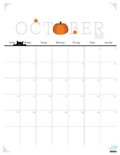 Download iMOM's Free October 2015 printable calendar. October means falling in love with pumpkins all over again.