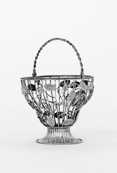 A Victorian wirework swing-handled sugar basket of George III style, by Charles Thomas Fox & George Fox, Charles Fox, Wire Work, Auction, Basket, Victorian, Sugar, Silver, Table, Porcelain Ceramics