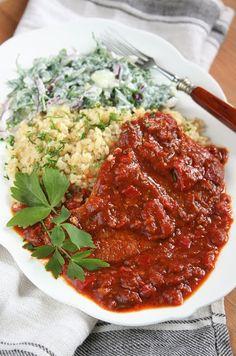 Chana Masala, Lamb, Chili, Pork, Beef, Ethnic Recipes, Bulgur, Kale Stir Fry, Meat