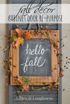 A Repurposed Cabinet Door Makes for a Special DIY Fall Décor