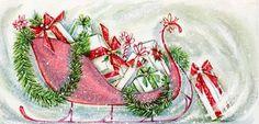 Pretty Christmas sleigh bearing gifts.