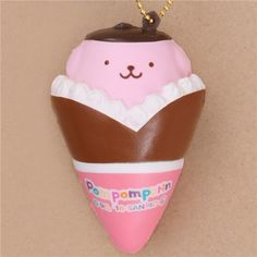 cute Pompompurin pink brown crepe squishy for bag