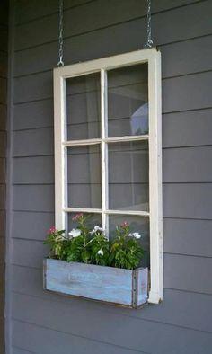 ON SALE Wood window flower box - window frames - antique wood windows - 6 pane wood window pane - wood flower box ideas - wood window ideas Wooden Window Boxes, Wooden Flower Boxes, Antique Window Frames, Wooden Windows, Window Frame Ideas, Frames Ideas, Window Pane Decor, Diy Flower Boxes, Antique Windows