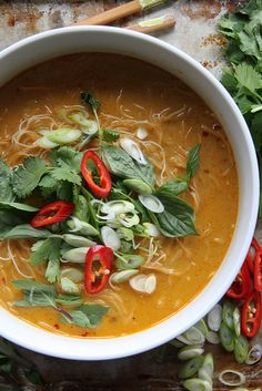 Spicy Thai Curry Noodle Soup by Heather Christo,  ***next time I would add some chunks of lemon grass