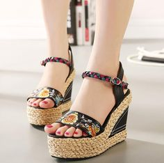 >> Click to Buy << Women 2016 Summer New Corium Knitting With Wedges High Heel Fashion Sandals Print Ethnic Style Waterproof Taiwan Sandals #Affiliate