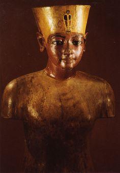 King Tutankhamun.... Painted Wooden Torso of Tutunkhamun - 18th Dynasty