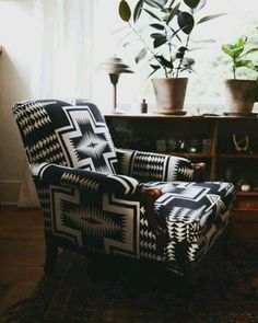I'd live in this chair! Perfect for Reading. My living room chair (a custom reupholstery job--designed by me, Jen McCabe). Photographed by Lauren Bamford for Yen Magazine. My Living Room, Living Room Chairs, Home And Living, Le Style Navajo, Home Interior, Interior Design, Ideas Hogar, Take A Seat, Deco Design