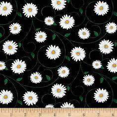 Live, Love, Laugh Daisy Quilt Fabric Tossed Daisies On Black Premium Cotton  #TimelessTreasuresFabric