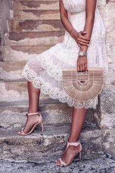 Zimmermann white lace dress, Cult Gaia bag, nude bow sandals