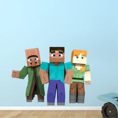 Minecraft Steve And Alex Bedroom Wall Stickers   Minecraft Design Decals  Video  Game Wall Decal Part 88