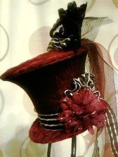 My first hat creation that was made using a paper cup, stretch fabric and stretch lace. Handmade by Sheila Atkinson 2012 Funky Hats, Cool Hats, Red Hats, Steampunk Top Hat, Victorian Steampunk, Steampunk Fashion, Mad Hatter Hats, Mad Hatter Tea, Mad Hatters