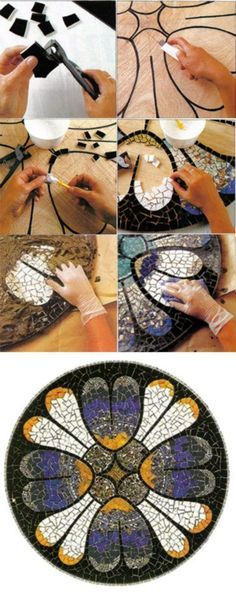 DIY :: Basic Mosaic Design tutorial I'm very inspired to try this! Tile Art, Mosaic Art, Mosaic Tiles, Mosaic Crafts, Mosaic Projects, Mosaic Designs, Mosaic Patterns, Stone Mosaic, Mosaic Glass