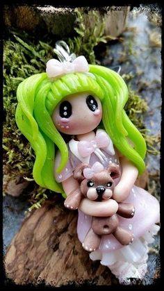 #polymaclay #fimo #Dolly  #Anhänger #Teddy #Handmade