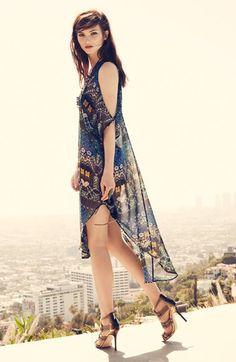 ASTR Lace-Up Oversized Shift Dress