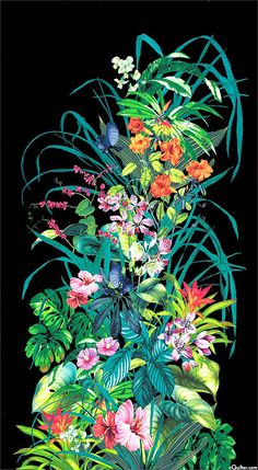 """Fantasy Island Floral  - 24"""" x 44"""" PANEL - Quilt Fabrics from www.eQuilter.com"""