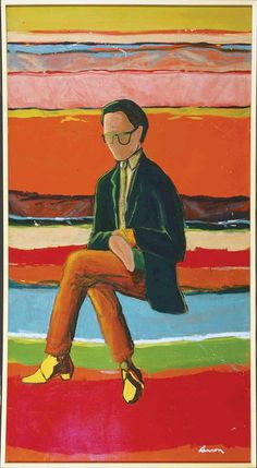 Painting by T.C. Cannon of his fellow painter Fritz Scholder in an article about the founding of the Institute of American Indian Arts. A Modern Revolution - New Mexico Magazine