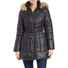 Guess Faux Fur-Trimmed Puffer Coat ($100) ❤ liked on Polyvore featuring outerwear, coats, black, faux coat, faux fur trim hooded coat, black coat, faux fur coats and guess coats