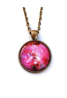 Galaxy Necklace / Pink Nebula Pendant / Galaxy by glowwormshop, $20.00