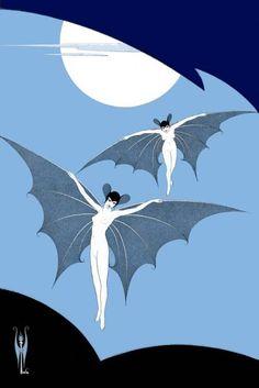 Vampires illustration, by Sergei Pavlovich Lodygin. Art Deco Illustration, Pattern Illustrations, Vampires, Art Magique, Creatures Of The Night, Gothic Art, Vintage Halloween, Halloween Eve, Fantasy Creatures