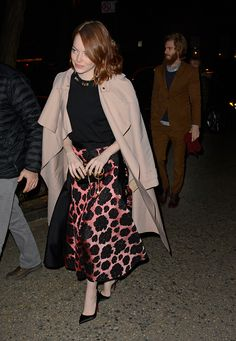 I love this length!  Emma Stone Steps Out in the New Skirt Length – Vogue