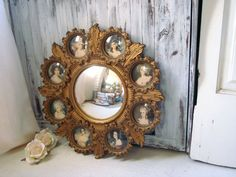 Vintage Cameo Round Mirror with Small Frames by WillowsEndCottage