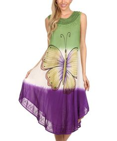 Another great find on #zulily! Green & Purple Butterfly Dress - Women by Sakkas #zulilyfinds