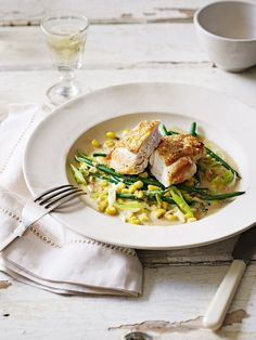 Chicken with creamy sweetcorn and green beans