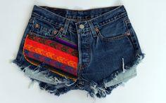 Frayed Aztec Denim Shorts by shopABBEY on Etsy